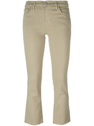 J Brand Flared Cropped Trousers Nude And Neutrals