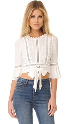 For Love And Lemons Willow Crop Top White