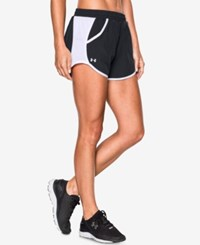 Under Armour Fly By Colorblocked Shorts Black White