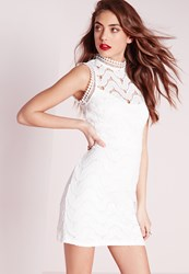 Missguided Lace Back High Neck Mini Dress White White