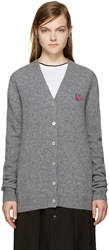 Mcq By Alexander Mcqueen Grey Embroidered Swallow Cardigan