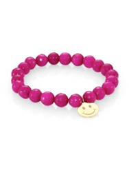 Sydney Evan Raspberry Jade And 14K Yellow Gold Happy Face Beaded Stretch Bracelet Pink