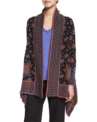 Nanette Lepore Long Sleeve Printed Cardigan Black Copper