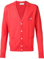 Maison Kitsune Front Pocket Cardigan Red