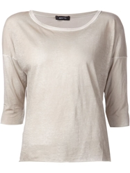 Avant Toi Boat Neck 3 4 Sleeves T Shirt Nude And Neutrals