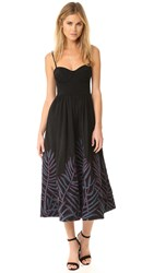 Mara Hoffman Leaf Embroidery Bustier Dress Black Multi