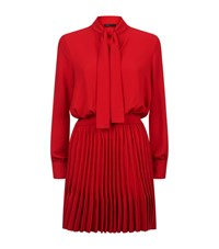 Maje Pussybow Dress With Knit Skirt Female Red