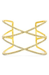 Women's Baublebar 'Double Helix' Pave Cuff Clear Gold