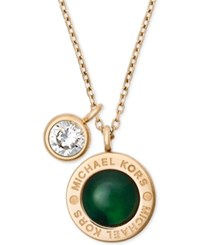 Michael Kors Colored Imitation Mother Of Pearl Pendant Necklace Green