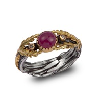 Emma Chapman Jewels Lattice Ruby And Diamond Gold Ring Red