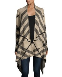 Neiman Marcus Plaid Print Open Front Cardigan Neutral Pattern