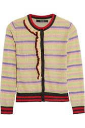 Sibling Striped Metallic Knitted Cardigan Yellow Metallic