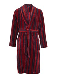 John Lewis Printed Stripe Fleece Robe Burgundy