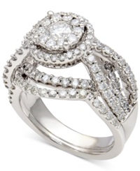 Macy's Diamond Halo Bridal Set 2 Ct. T.W. In 14K White Gold
