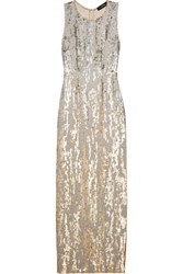 Jenny Packham Sequined Silk Voile Gown Gold