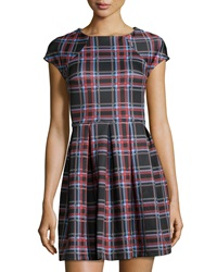Romeo And Juliet Couture Plaid Print Pleated Scuba Dress Black Combo