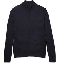 Theory Slim Fit Zip Up Stretch Wool Sweater Blue