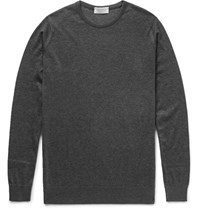 John Smedley Medley Ea Iland Cotton And Cahmere Blend Weater Charcoal