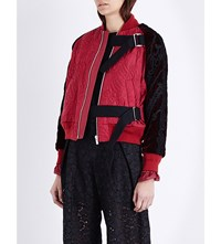 Sacai Patterned Quilted Bomber Jacket Red