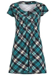Tenki Cap Sleeve Tartan Check Tunic Dress Green