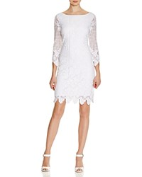 Laundry By Shelli Segal Three Quarter Sleeve Lace Dress Optic White