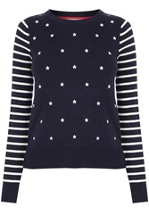 Oasis Embroidered Star Knit Blue Multi