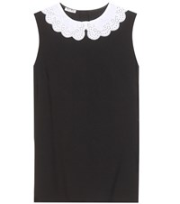 Miu Miu Embellished Crepe Top Black