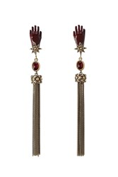 Roberto Cavalli Earrings With Tassels And Stones Gold