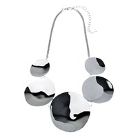 Adele Marie Polished Disc Statement Necklace Silver