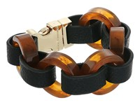 French Connection Circle Resin And Faux Leather Link Bracelet Gold Tortoise Bracelet