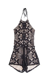 Miguelina Harriet Lace Playsuit Black