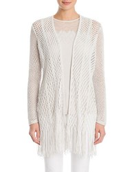 Nic Zoe Enchanted Fringe Open Front Cardigan White