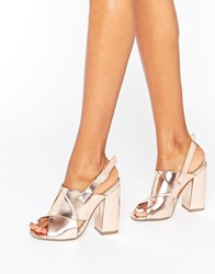 Missguided Cross Strap Block Heel Sandals Rose Gold Rose Gold