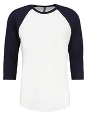 American Apparel Long Sleeved Top White Navy