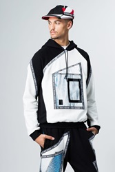Nasir Mazhar Graphic Picture Frame Hoodie Black White Blue