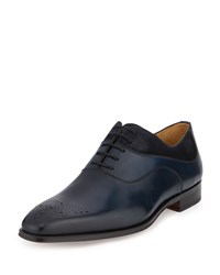 Magnanni For Neiman Marcus Suede Trim Leather Oxford Azul