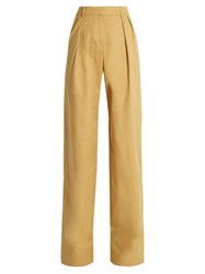 Palmer Harding High Rise Wide Leg Stretch Cotton Twill Trousers Beige