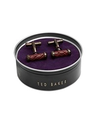 Ted Baker Battern Leather Rope Cufflinks Red