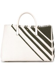 Anya Hindmarch Weavebasket Pattern Stripe Tote Bag White