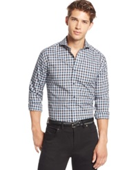 Vince Camuto Shortshirt Plaid Long Sleeve Shirt Blue Black Gingham