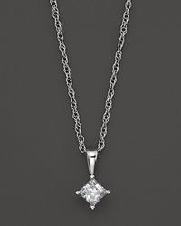 Bloomingdale's Princess Cut Diamond Pendant Necklace In 14K White Gold .25 Ct. Tw. No Color