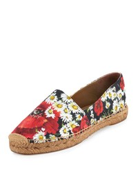 Dolce And Gabbana Floral Print Canvas Espadrille Flat Multi Colors