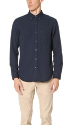 Club Monaco Slim Button Down Double Face Shirt Aviator Navy
