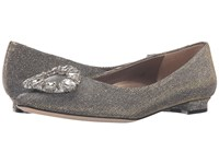Vaneli Stevie Gold Galassia Fabric Clear Stones Women's Flat Shoes