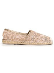 Valentino Garavani Lace Espadrilles Pink And Purple