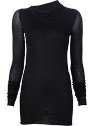 Rick Owens Lilies Semi Sheer Sleeve Asymmetric Roll Neck Knitted Top Black