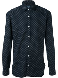 Barba Geometric Print Shirt Blue