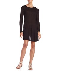 Design Lab Lord And Taylor Bayday Ribbed Long Sleeve A Line Dress Black