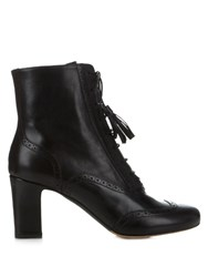 Tabitha Simmons Afton Block Heel Leather Ankle Boots Black
