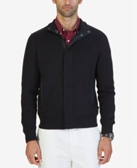 Nautica Men's French Ribbed Track Jacket True Black